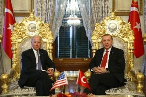 ISTANBUL, TURKEY - JANUARY 23: President of Turkey, Recep Tayyip Erdogan (R) and Vice President of the United States, Joe Biden (L) meet at historical Mabeyn Palace in Yildiz Palace Complex in Istanbul, Turkey on January 23, 2016. ( Kayhan Özer - AA )
